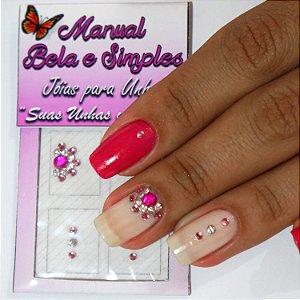 Jóia para Unha Rosa com Tachinha Prata Manual Bela e Simples