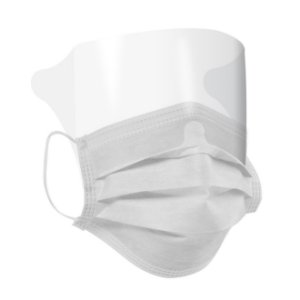 Mascara Cirúrgica Tripla com Protetor Visual - Elástico - 5 UN