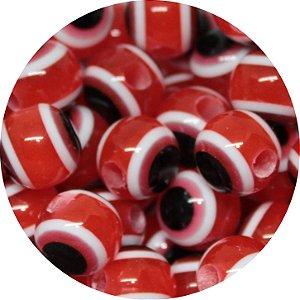 Miçanga Pesca Olho Grego Vermelha - Furo Maior 10mm