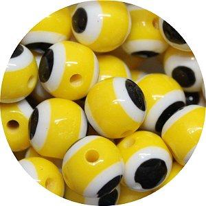 Miçanga Pesca Olho Grego Amarelo 10mm