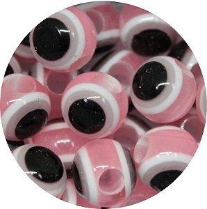 Miçanga Pesca Olho Grego Rosa - Furo Maior 10mm
