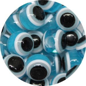 Miçanga Pesca Olho Grego Azul Bebe - Furo Maior 10mm