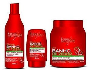 Kit Banho de Verniz Morango Forever Liss Shampoo 500ml, Máscara 1kg e Leave-in 150gr