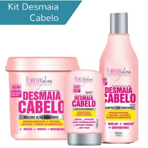 Kit Desmaia Cabelo Forever Liss Shampoo 500ml, Leave-in 150g e Máscara 950g