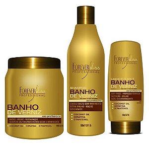 Kit Forever Liss Banho de Verniz Máscara 1kg + Shampoo 500ml + Leave-in 150g