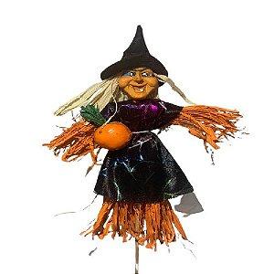 Enfeite Espeto Espantalho Bruxa Halloween 30Cm Un.
