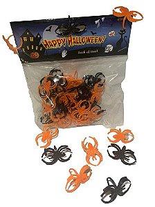Enfeite Aranhas laranja/preto Halloween C/ 30 Un.