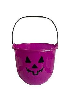Baldinho Lilás P/ Doce Halloween 15Cm