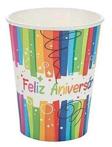 Copo de Papel Feliz Aniversário Silver Festas 270ml C/ 10 Un.