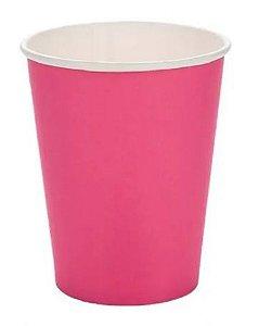 Copo de Papel Liso Pink Silver Festas 270ml C/ 10 Un.