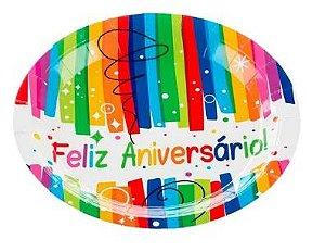 Prato de Papel Feliz Aniversario Silver Festas 18Cm C/ 10 Unidades