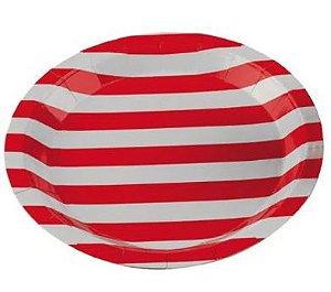 Prato de Papel Listrado Vermelho Silver Festas 18Cm C/ 10 Un.