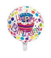 Balão Nº 18 Metalizado Happy Birthday 45Cm Un.