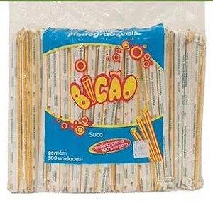 Canudo Embalado Biodegradável P/ Suco Bicão C/ 500 Un.