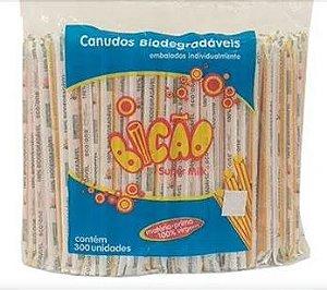 Canudo Embalado Milk Shake Biodegradável Bicão C/ 300 Un.