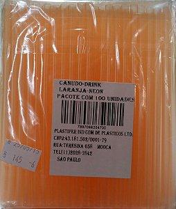 Canudo Drink Laranja Neon C/ 100 Un.