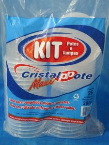 Pote PP Red. 380 ml. C/ Tampa Cristal Pote C/ 25 Un.