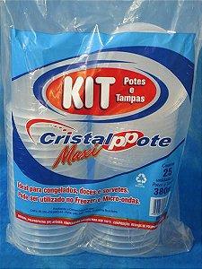 Pote PP Red. 380 ml. C/ Tampa Cristal Pote Cx C/ 400 Un.