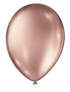 Balão Nº 9 Metalizado Rose São Roque C/ 25 Un