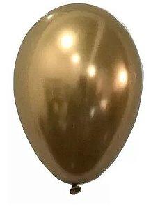 Balão Nº 9 Metalizado Dourado São Roque C/ 25 Un.