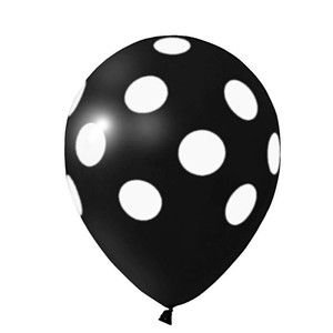 Balão Confete Preto C/ Branco Nº 11 Happy Day C/ 25 Un.