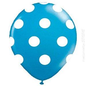 Balão Confete Azul C/ Branco Nº 11 Happy Day C/ 25 Un.