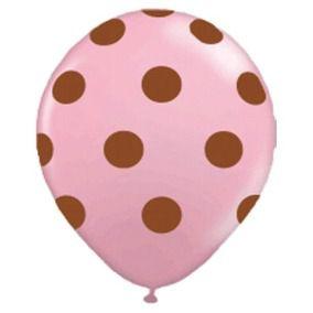 Balão Confete Rosa C/ Marrom Nº 11 Happy Day C/ 25 Un.