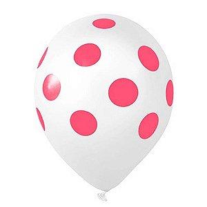 Balão Confete Branco C/ Rosa Nº 11 Happy Day C/ 25 Un.