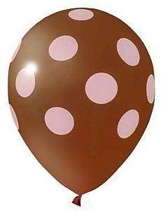 Balão Confete Marrom C/ Rosa Nº 11 Happy Day C/ 25 Un.