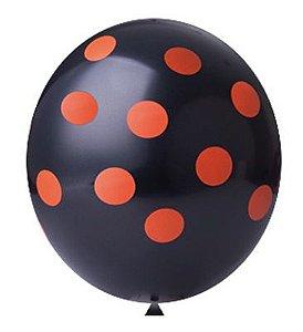 Balão Confete Preto C/ Laranja Nº 11 Happy Day C/ 25 Un.