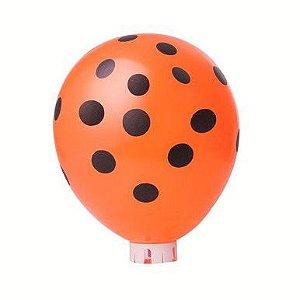 Balão Confete Laranja C/ Preto Nº 11 Happy Day C/ 25 Un.