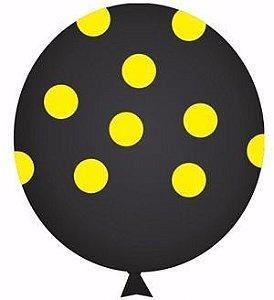 Balão Confete Preto C/ Amarelo Nº 11 Happy Day C/ 25 Un.
