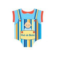 Convite Chá de Bebê Macacão Azul Nº 2 C/ 8 Un.