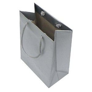 Sacola de Papel Prata (G) 20X15X7,5Cm Kaiamba C/ 10 Un.