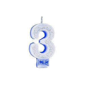Vela C/ Gliter Nº 3 Azul Regina Un.