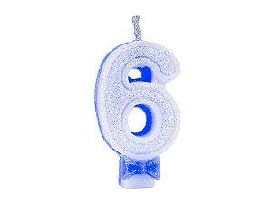 Vela C/ Gliter Nº 6 Azul Regina Un.