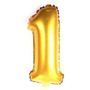 Balão Laminado Nº 1 Dourado C/ 40 Cm