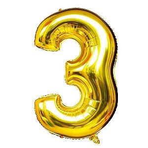 Balão Nº 3 Metalizado dourado Un.
