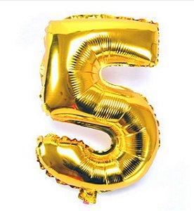 Balão Nº 5 Metalizado dourado Un.