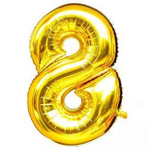 Balão Nº 8 Metalizado dourado Un.