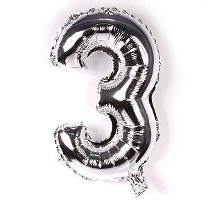 Balão Laminado Nº 3 Prata C/ 40 Cm