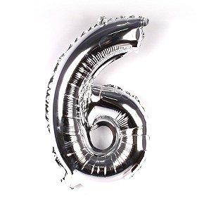 Balão Nº 6 Metalizado Prata Un.