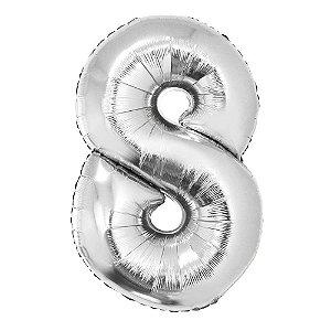 Balão Laminado Nº 8 Prata C/ 40 Cm