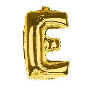 Balão Laminado Letra ''E'' Dourado C/ 70 Cm