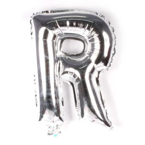 Balão Laminado Letra ''R'' Prata C/ 70 Cm