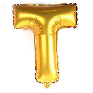 Balão Laminado Letra ''T'' Dourado C/ 70 Cm