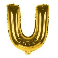 Balão Laminado Letra ''U'' Dourado C/ 70 Cm