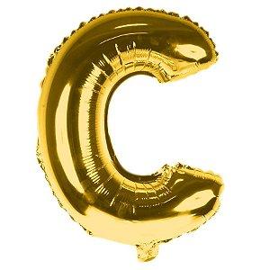 Balão Laminado Letra ''C'' Dourado C/ 40 Cm