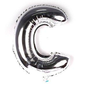 Balão Laminado Letra ''C'' Prata C/ 40 Cm