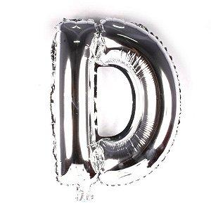 Balão Laminado Letra ''D'' Prata C/ 40 Cm